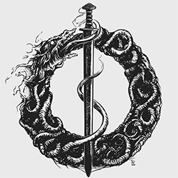 <strong>&quot;Ouroboros&quot; Symbol</strong><br>&quot;Ouroboros&quot; symbol for the Band Talamyus. (Ink on Bristol paper). 2016